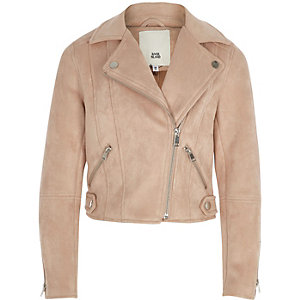 Girls light pink faux suede biker jacket