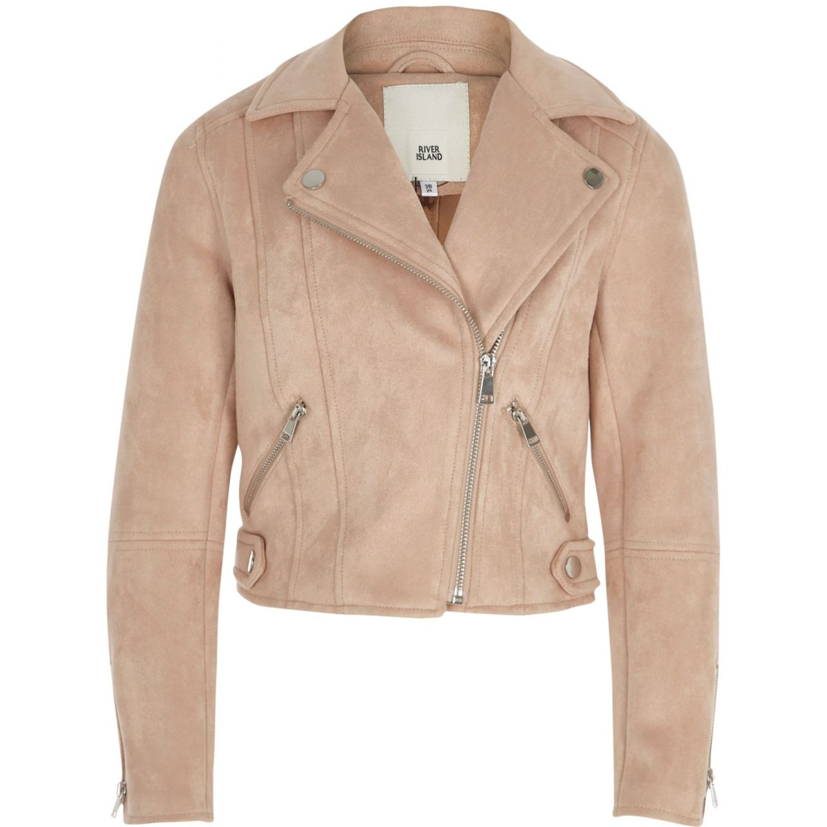 Girls light pink faux suede biker jacket
