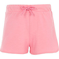 Girls pink crochet trim shorts
