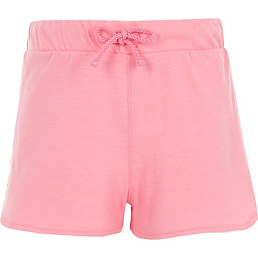 Girls pink crochet trim shorts