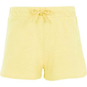 Gele hardloopshort met gehaakte zijkant voor meisjes