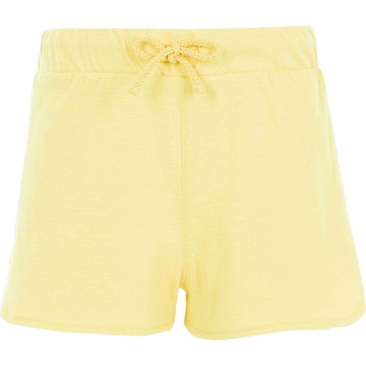 Short de course jaune à côtés au crochet pour fille