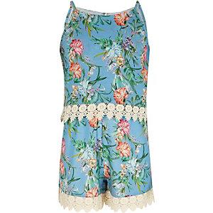 Blauwe gelaagde playsuit met bloemenprint en gehaakte rand voor meisjes