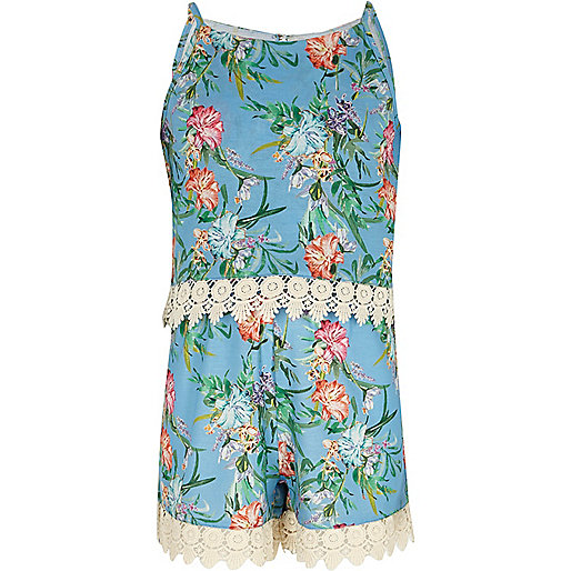 Girls blue floral layer crochet trim playsuit