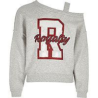 Girls grey one shoulder 'royalty' sweatshirt
