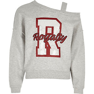 Girls grey one shoulder 'royalty' sweatshirt