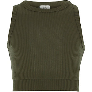 Ärmelloses Crop Top in Khaki
