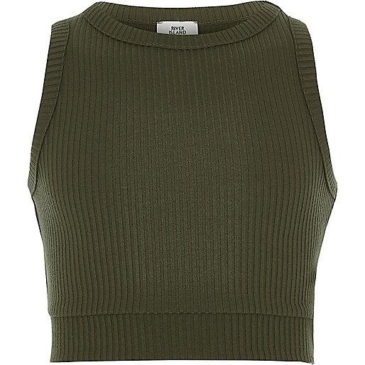 Girls khaki green rib sleeveless crop top