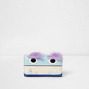 Blaue, faltbare Monster-Geldbörse mit Kunstfell