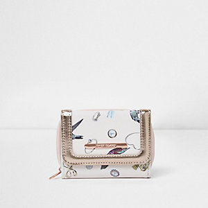 Girls cream jewel print purse