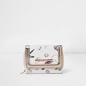 Crème portemonnee met juwelenprint voor meisjes