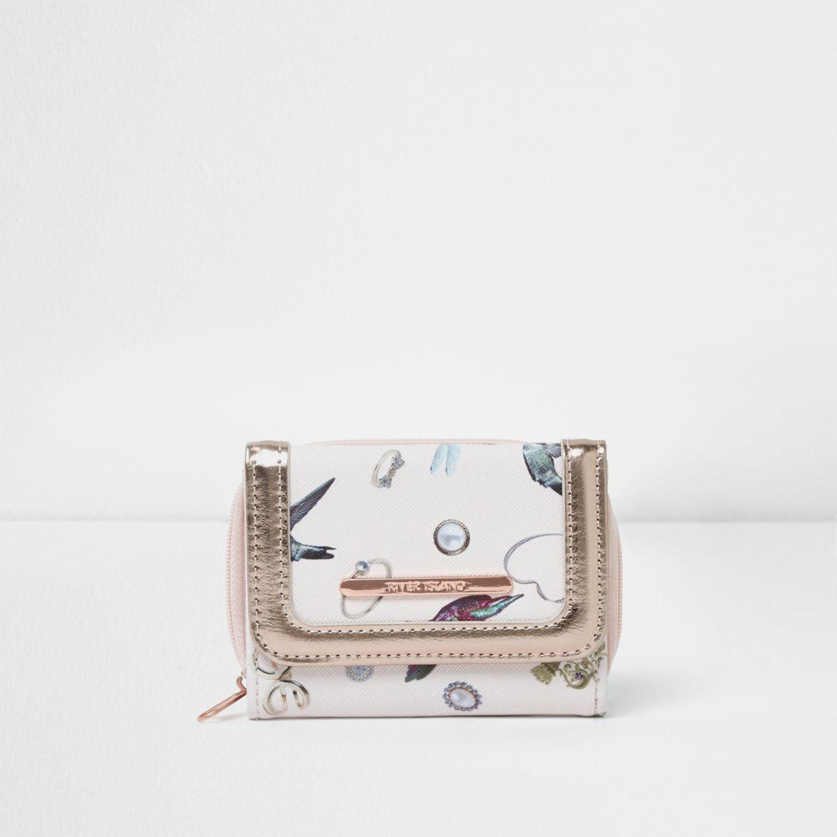 Girls cream jewel print purse