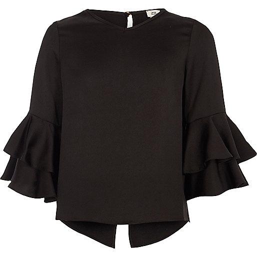 Girls black ruffle sleeve top