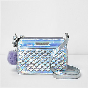 Girls iridescent scallop front crossbody bag