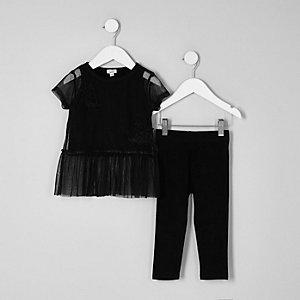 Mini - Outfit met zwart T-shirt met mesh en peplum voor meisjes