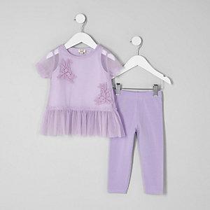 Mini - Outfit met paars T-shirt met mesh en peplum voor meisjes