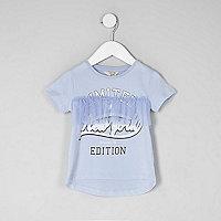 Mini girls blue 'New York' mesh frill T-shirt