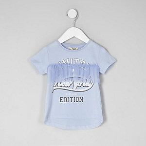 """Blaues T-Shirt """"New York"""" mit Rüschen"""