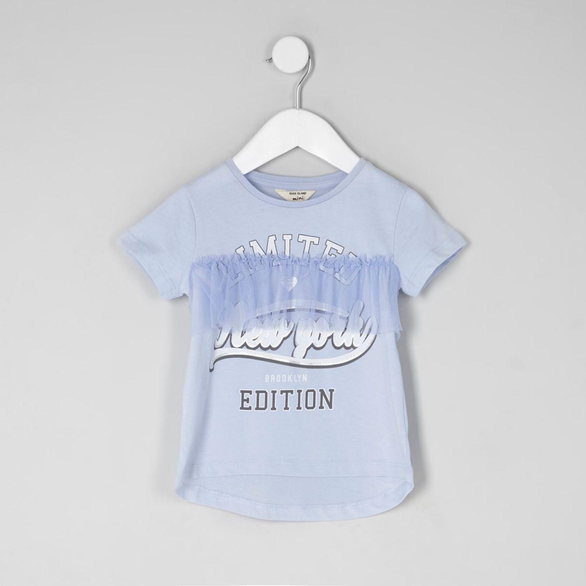 T-shirt «New York» bleu avec volant en tulle mini fille