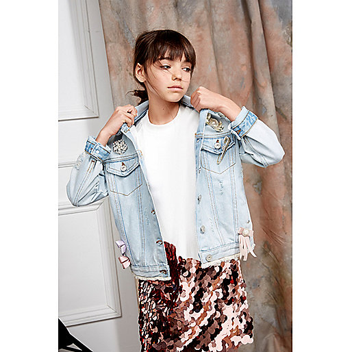 Girls blue RI Studio brooch denim jacket