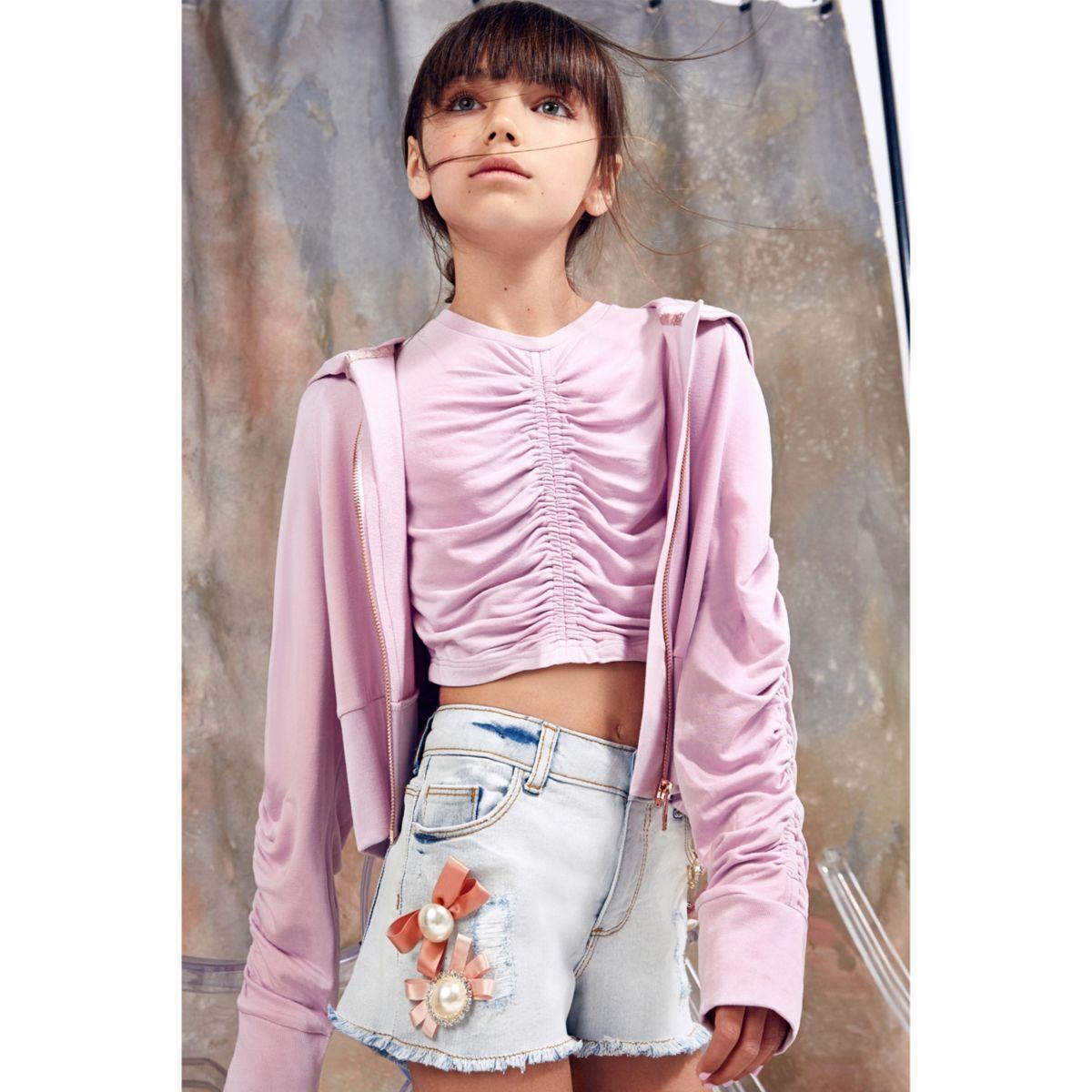 Girls blue RI Studio brooch denim shorts
