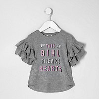 Mini girls grey sequin 'breaks hearts' top