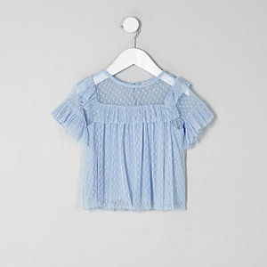 Mini girls blue dobby mesh frill top
