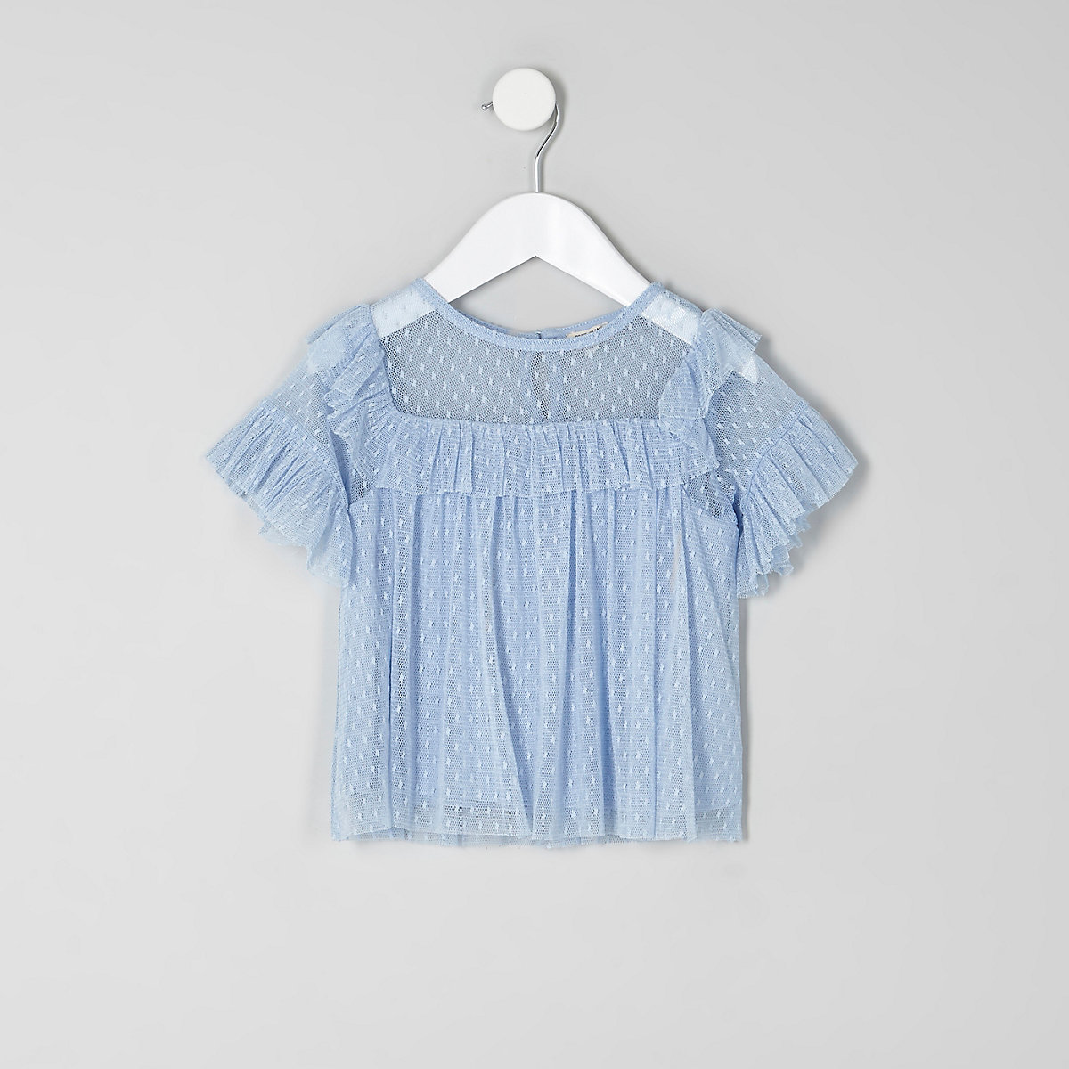 Mini girls blue dobby mesh frill top