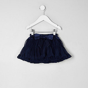 Mini girls navy layered tutu skirt