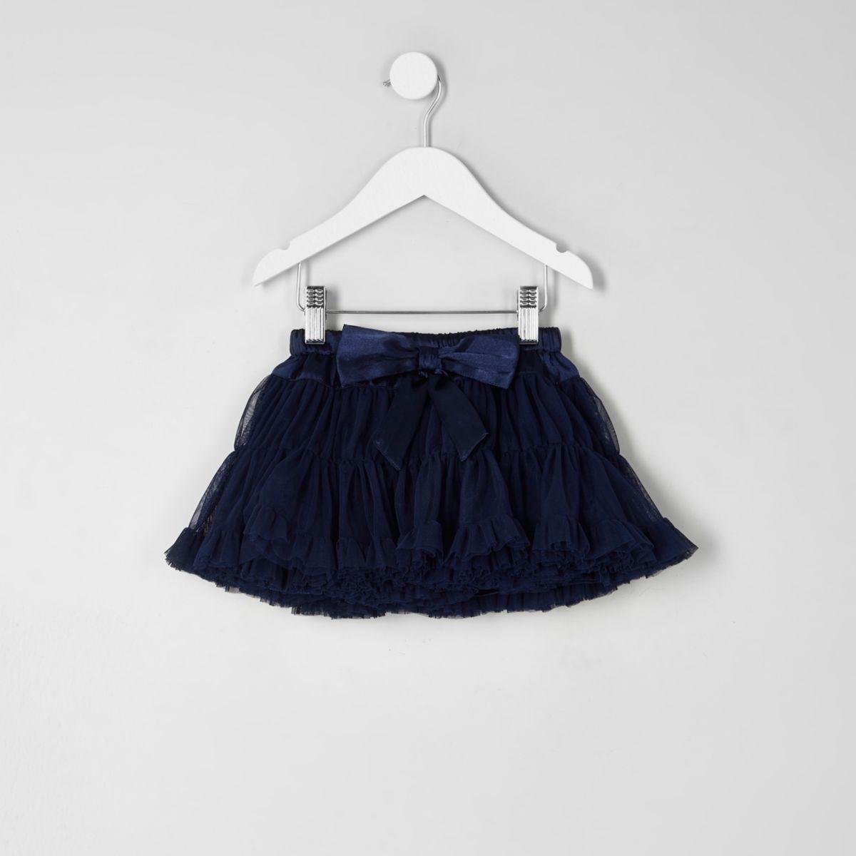 Mini girls navy layered tutu skirt