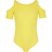 Girls yellow ribbed cold shoulder bodysuit