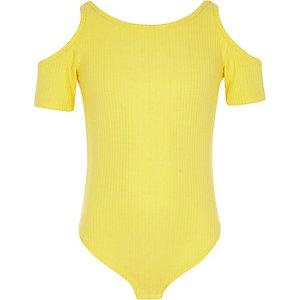 Gele geribbelde schouderloze body voor meisjes