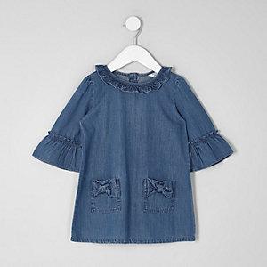 Mini - Blauwe denim jurk met ruches en strik voor meisjes