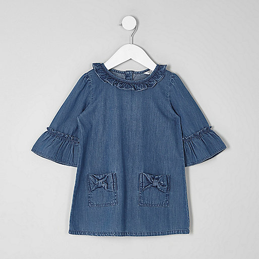 Mini girls blue denim frill bow dress