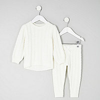 Mini girls cream cable knit jumper outfit