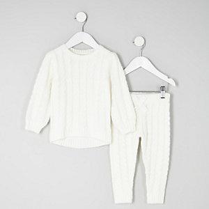 Mini - Outfit met crème kabeltrui voor meisjes