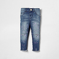 Mini girls blue Amelie paint splatter jeans