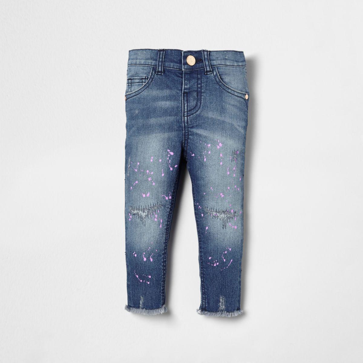 Mini girls blue Amelie paint splatter jeans