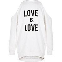 Girls cream 'love' cold shoulder sweatshirt