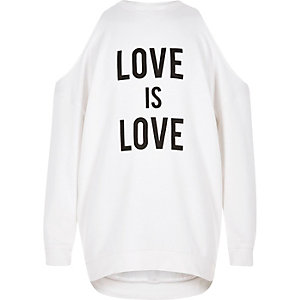Girls cream 'love' cold shoulder sweatshirt