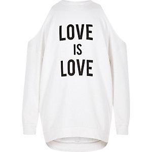 Crème schouderloos sweatshirt met 'Love'-print voor meisjes