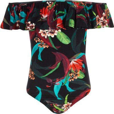 Zwarte body in bardotstijl met tropische print en ruches voor meisjes
