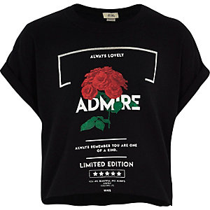 Girls black 'admire' print cropped T-shirt