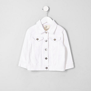 Mini girls white denim jacket