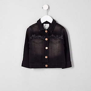 Mini girls black frayed denim jacket
