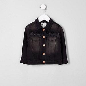 Veste en jean effiloché noire mini fille