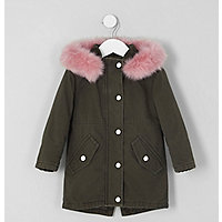 Mini girls khaki faux fur trim parka jacket