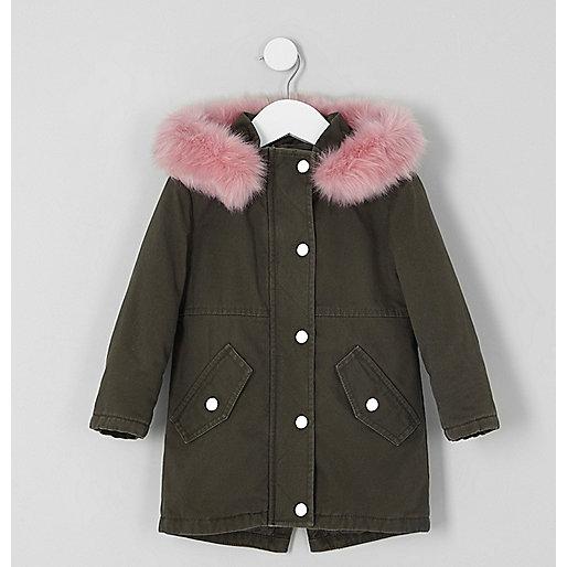Mini girls khaki faux fur trim parka jacket