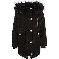 Girls black faux fur trim hooded parka