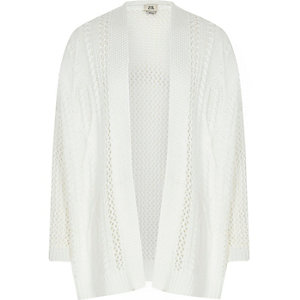 Girls white ladder knit open front cardigan